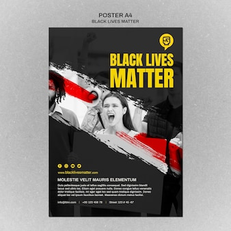 Minimalist black lives matter flyer with photo
