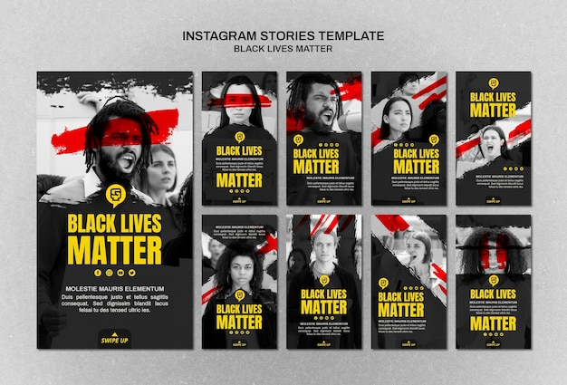 Minimalist black lives matter instagram stories with photo