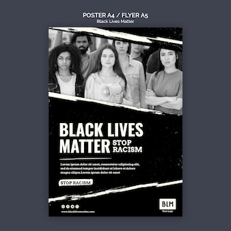 Минималистская черная жизнь имеет значение шаблон плаката