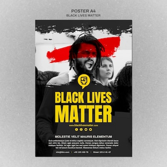 Minimalist black lives matter poster with photo