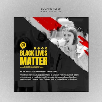 Minimalist black lives matter square flyer with photo