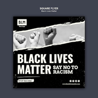 Minimalist black lives matter square flyer
