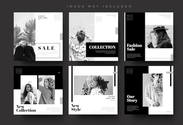 シンプルな黒のソーシャルメディアinstagramフィードの投稿とストーリーファッション販売バナーテンプレート