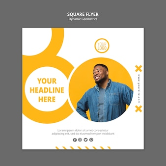 Minimalist business ad square flyer template
