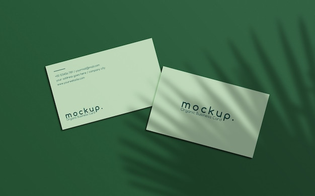 Minimalist business card mockup composition with leaf overlays