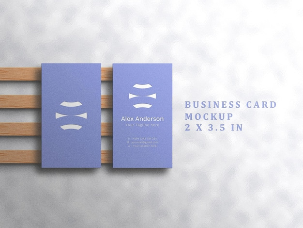 Minimalist business card mockup on white background with embossed and debossed effect
