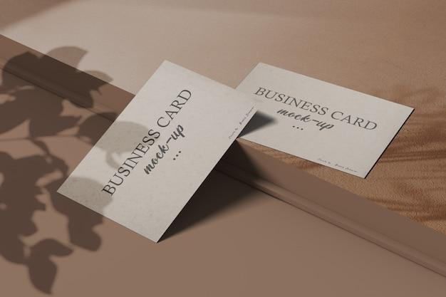 Minimalist business card mockup with shadow overlay