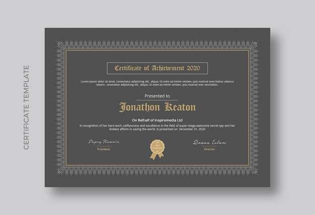 Minimalist certificate of achievement template design