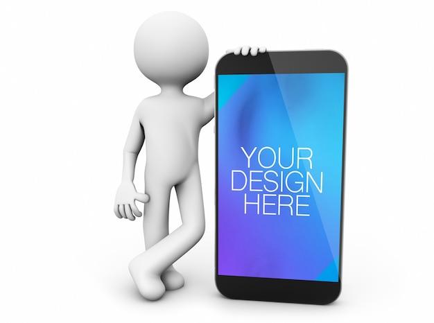 Minimalist character showing smartphone mockup isolated