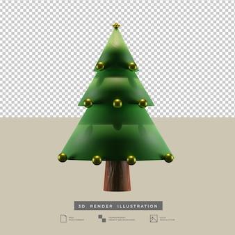 Минималистская рождественская елка с золотым шаром украшения 3d иллюстрация