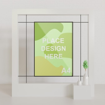 Minimalist close up frame mockup on the white interior design