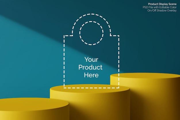 제품 디스플레이 3d 렌더링을위한 미니멀리스트 컬러 블록 원형 받침대 레벨