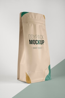 Minimalist composition of doypack mock-up