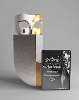 Minimalist concept with mask party mock-up