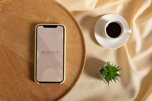 Minimalist device mockup in real context