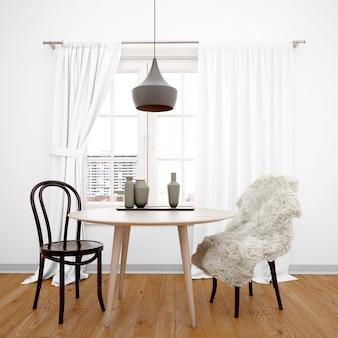 Sala da pranzo minimalista con tavolo rivolto verso la finestra