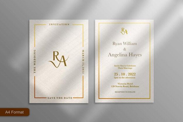 ゴールドフレームのミニマリストエレガントな結婚式の招待状のテンプレート