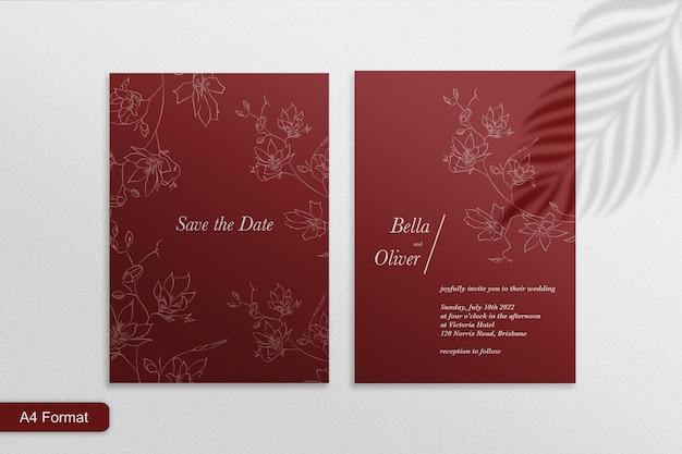 ミニマリストのエレガントな結婚式の招待状のテンプレート