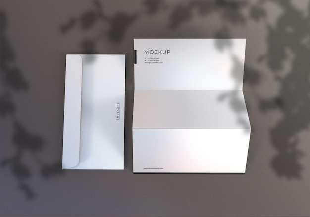 Minimalist envelope and letterhead set mockup