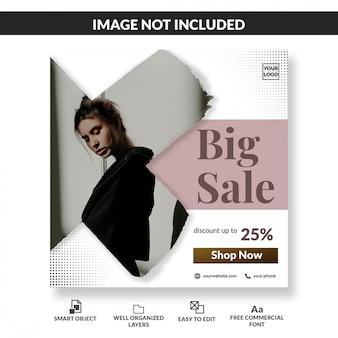 Minimalist fashion big sale promo social media post template