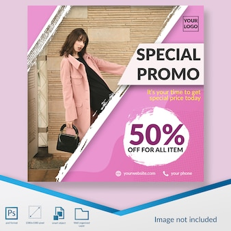 Minimalist fashion discount offer square banner or instagram post template