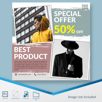 Minimalist fashion discount sale offer square banner or instagram post template