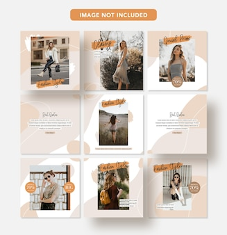 Minimalist fashion discount social media banner design instagram post template