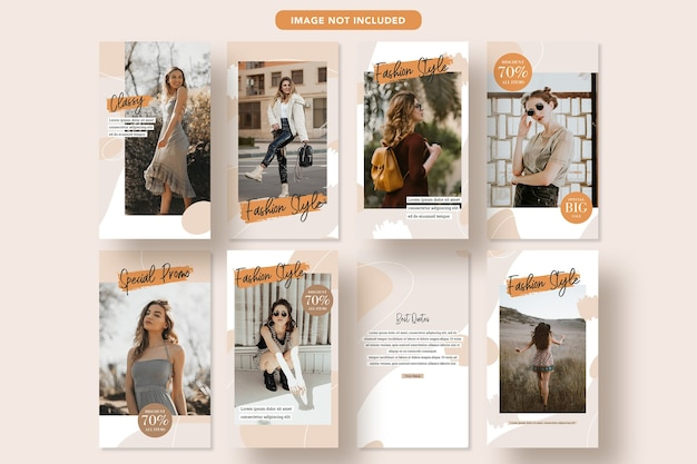 Minimalist fashion discount social media promo banner design instagram story template