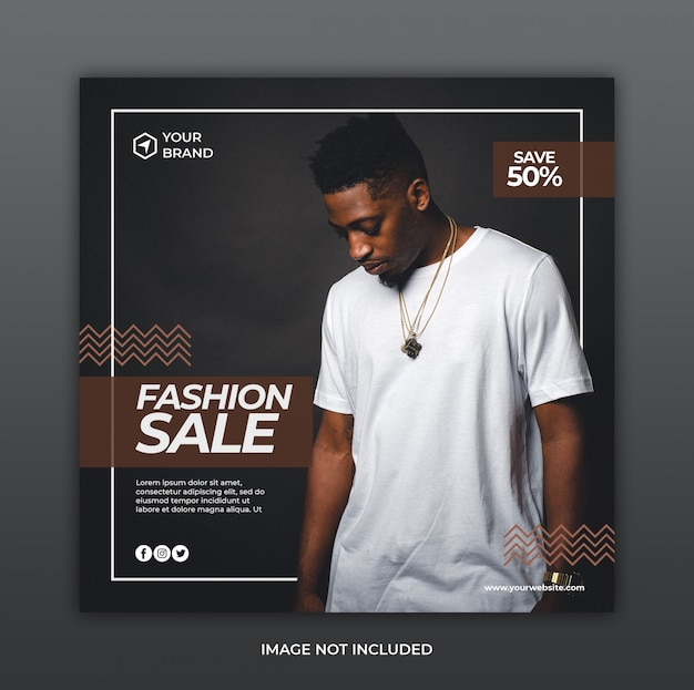 Minimalist fashion sale promotion banner or square flyer for social media post template