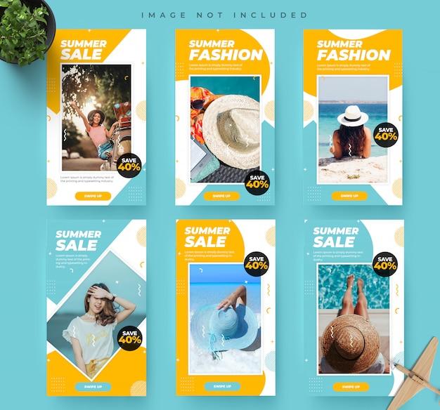 Minimalist fashion summer sale banner or instagram stories template set