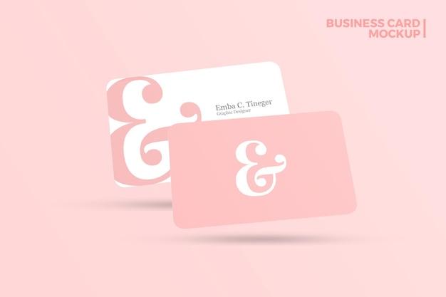 Minimalist floating business card mockup