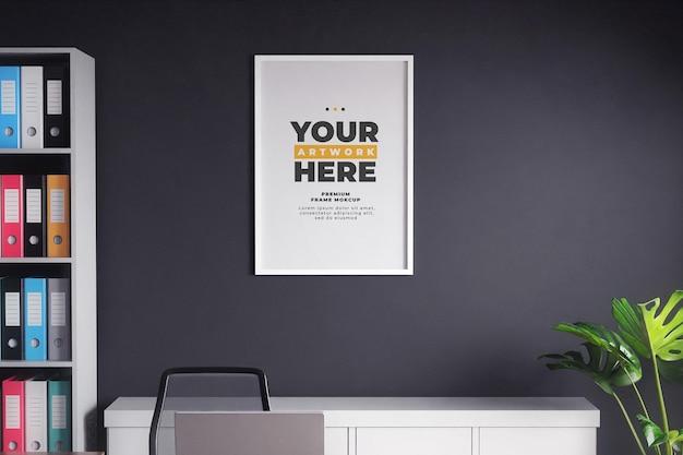 Minimalist frame mockup poster black wall