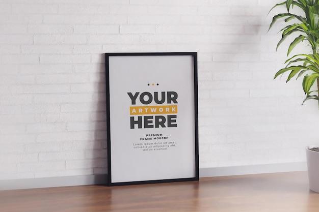 Minimalist frame mockup poster white wall