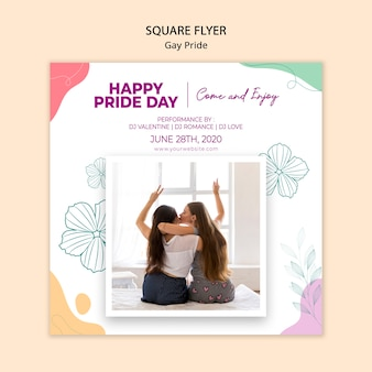 Minimalist gay pride square flyer template