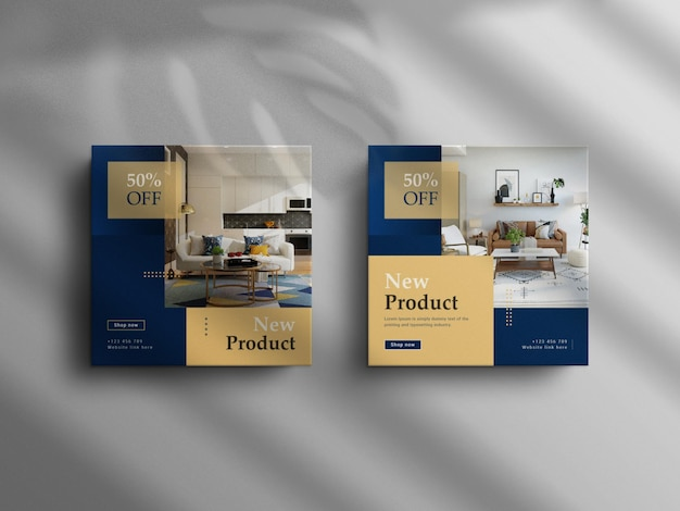 Минималистичный пост в instagram и баннер интерьера с роскошным макетом square real estate Premium Psd