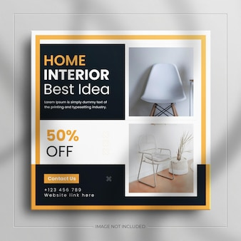 Minimalist instagram post and square real estate interior furniture banner with a luxury mockup
