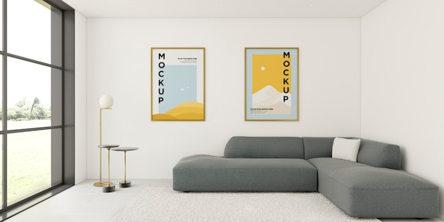 Minimalist interior arrangement with frames mock-up