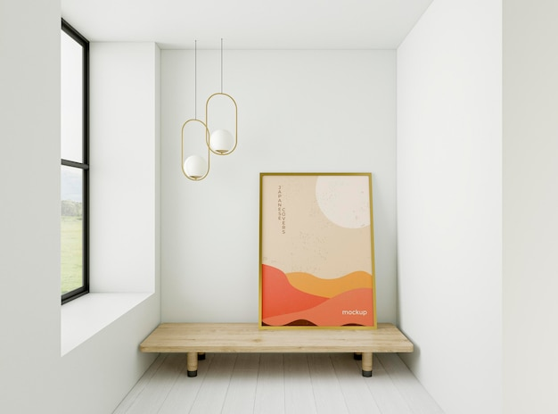 Minimalist interior assortment with frame mock-up