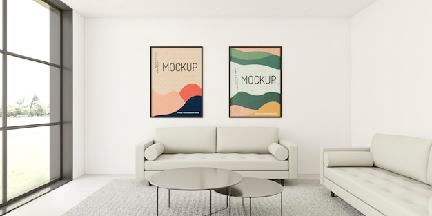 Minimalist interior composition with frames mock-up