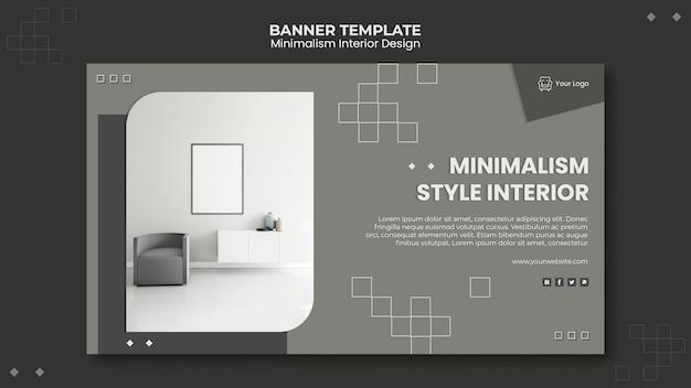 Modello di banner interior design minimalista