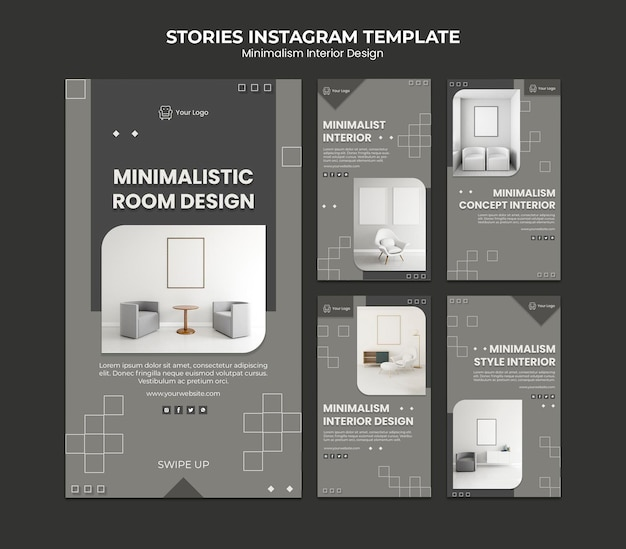 Minimalist interior design instagram stories template