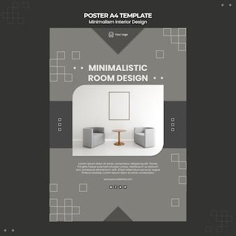Modello di poster di interior design minimalista