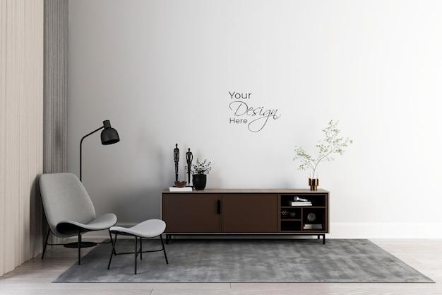 Минималистичный интерьер гостиной с креслом на белой стене