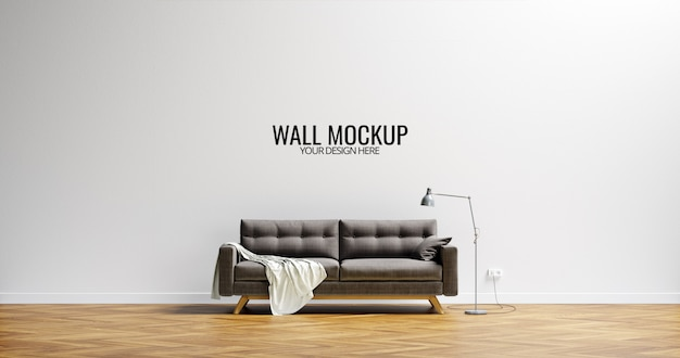 Minimalist interior wall  mockup brown sofa