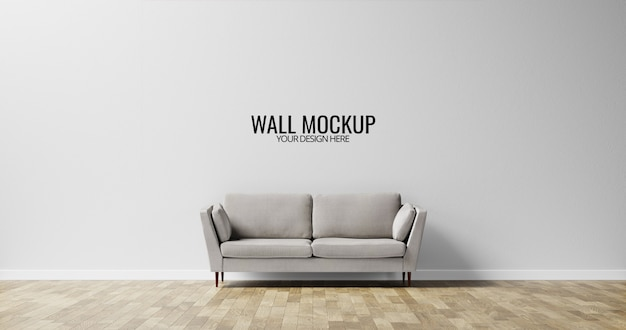Minimalist interior wall  mockup with grey sofa