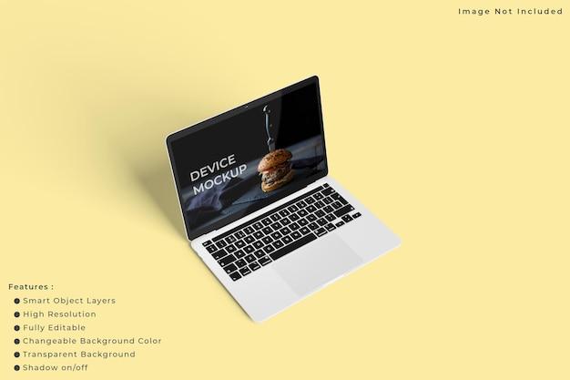 パステルカラーの背景を持つミニマリストのラップトップ画面のモックアップ