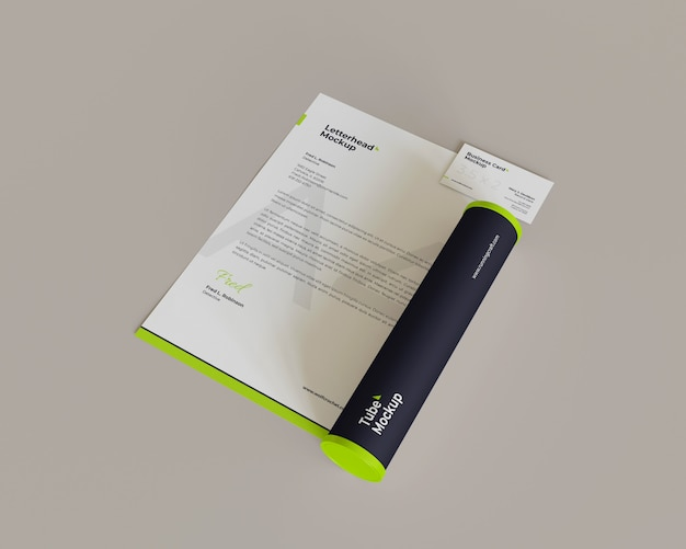 Minimalist letterhead and business card with tube mockup looks the right view