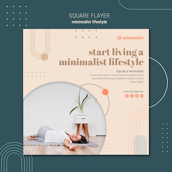 Modello di volantino quadrato stile di vita minimalista