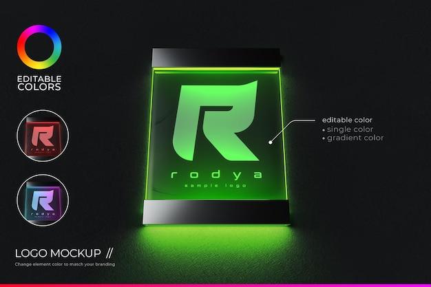 Minimalist logo mockup on acrylic signage with glow and editable color