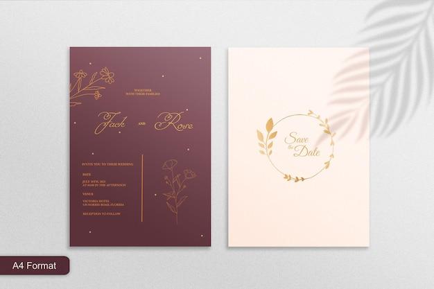ゴールデンボタニカルとミニマリストマルーンの結婚式の招待状